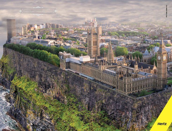 England doesn't have to end in London. (イギリスは、ロンドンで終わる必要はありません。) 切り立った崖の上に立つロンドン世界遺産。レンタカー会社の比喩表現が面白い広告 | AdGang