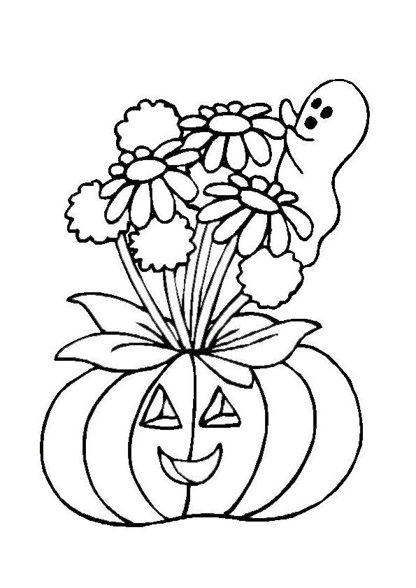 Coloriage d une citrouille avec de jolies fleurs au dessus et un fant me coloriages et - Citrouille halloween a colorier ...