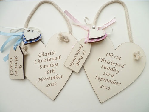 Personalised engraved Christening plaque Baby boy/girl gift in IVORY heart | eBay