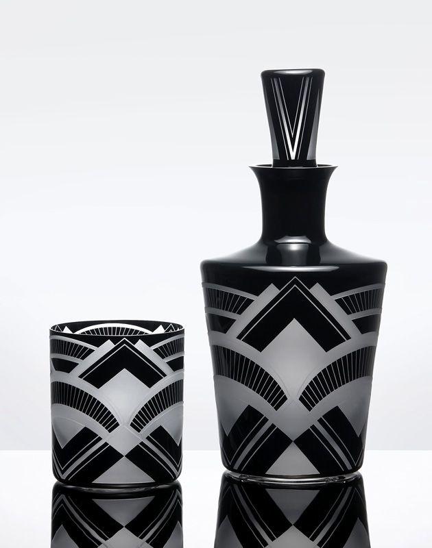 Art Deco Vase and Glass