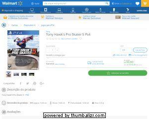 [Wal-Mart] Tony Hawk ´ s Pro Skater 5 Ps4 3726469 - de R$ 269,90 por R$ 99,99 (62% de desconto)