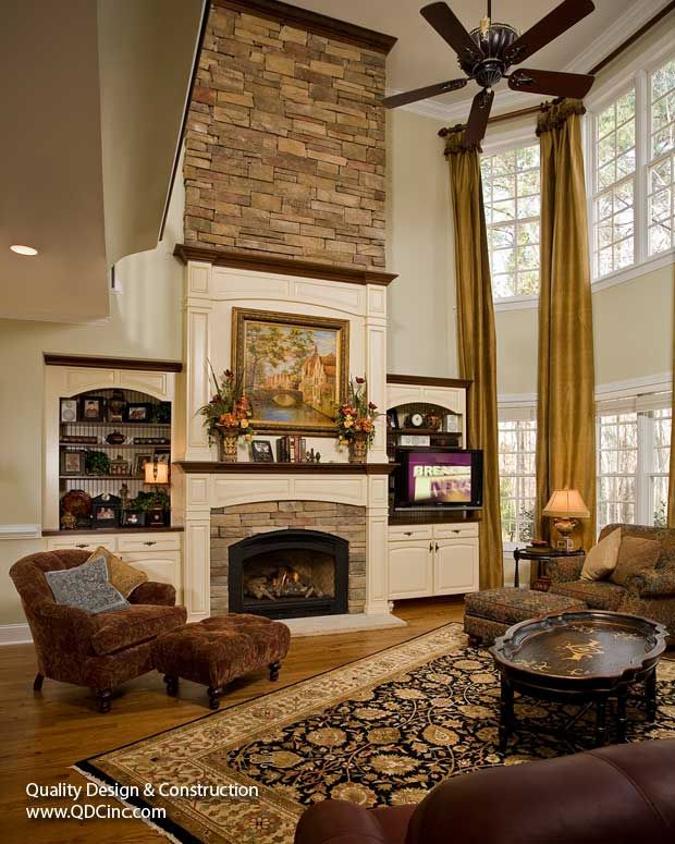 Converted Fireplace To An Elegant, Stately Focal Point By Installing New  Built Ins Revamping With A New Dry Stacked Stone Fireplace That Reaches 18  Feet ...
