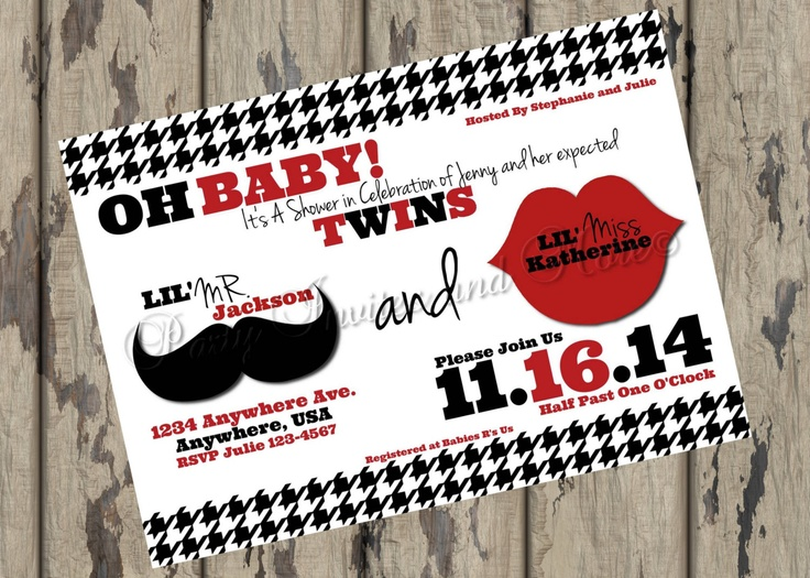 Baby Shower Twins Boy and Girl Mustache Lips Printable Invitation. $8.00, via Etsy.