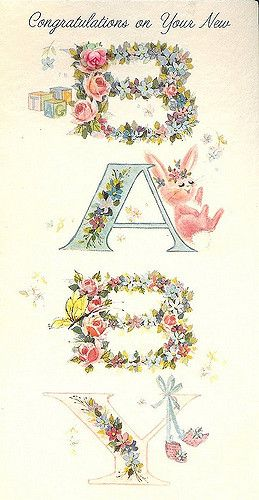 Vintage Baby Card with Bunny | Flickr - Photo Sharing!