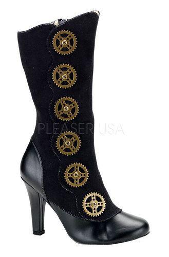 Womens Victorian Steampunk Cosplay Black Gear Spat Boots
