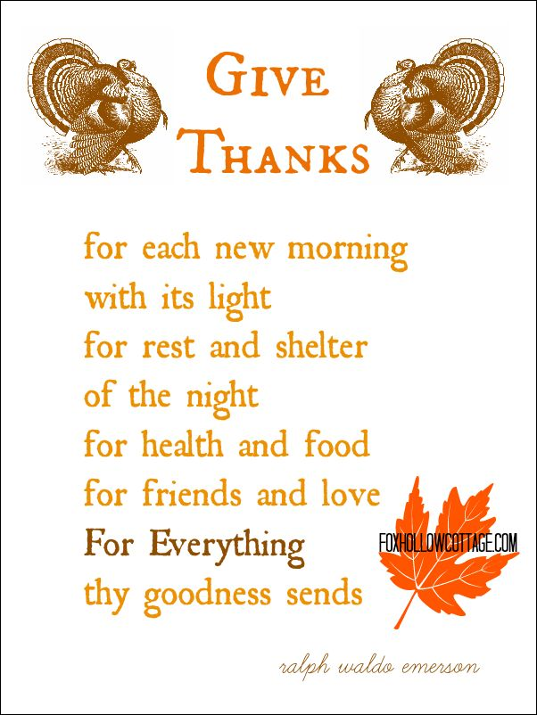 Thanksgiving Printable: Give Thanks, a Ralph Waldo Emerson Poem   www.foxhollowcottage.com #thanksgiving #printable