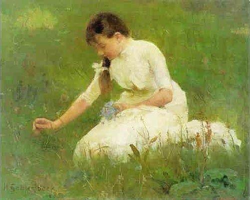 Picking Bluebells, 1880s, oil on canvas, Helene Sofia Schjerfbeck (1862-1946)