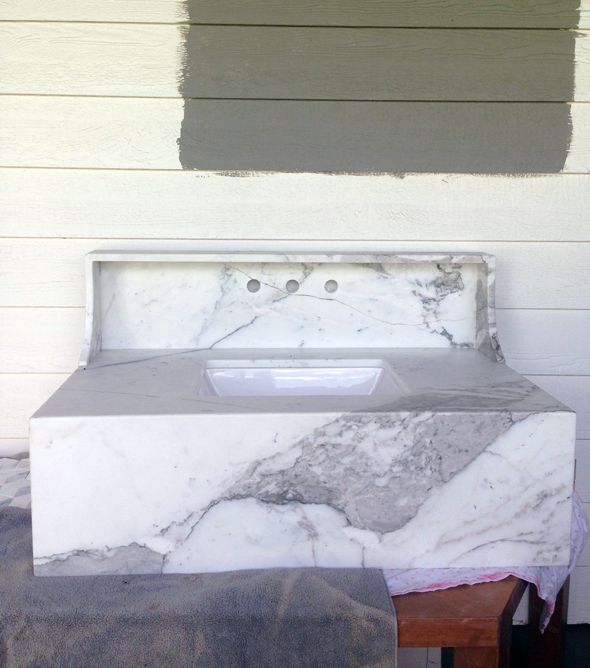 Charming Wall Mounted Marble Sink A/ Install Ideas Via Little Green Notebook
