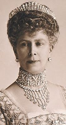 British Queen Mary of Teck, consort of King George V, in the Russian Fringe Tiara