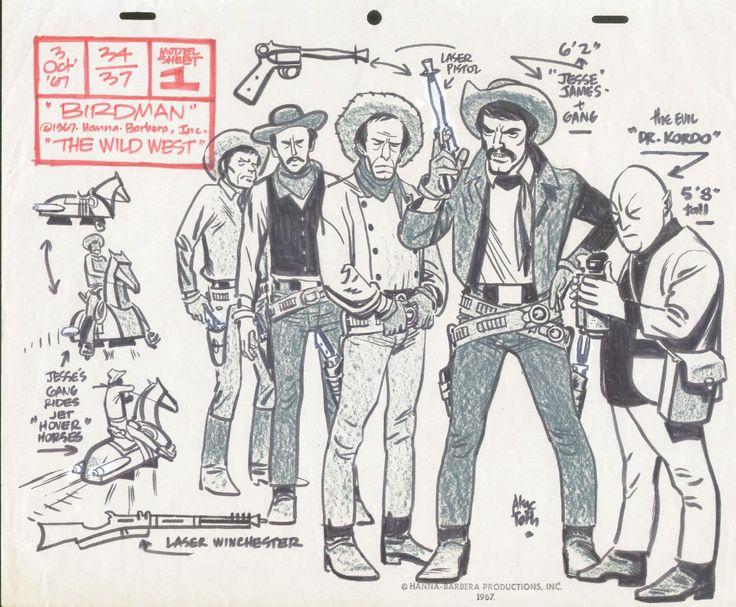 Alex Toth Jesse James Gang model sheet Comic Art