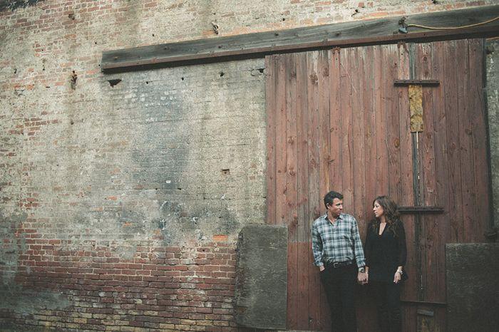 industrial, brick, big wood door