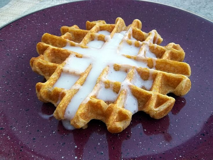 Pumpkin Waffles with Cream Cheese Syrup: Improv Challenge