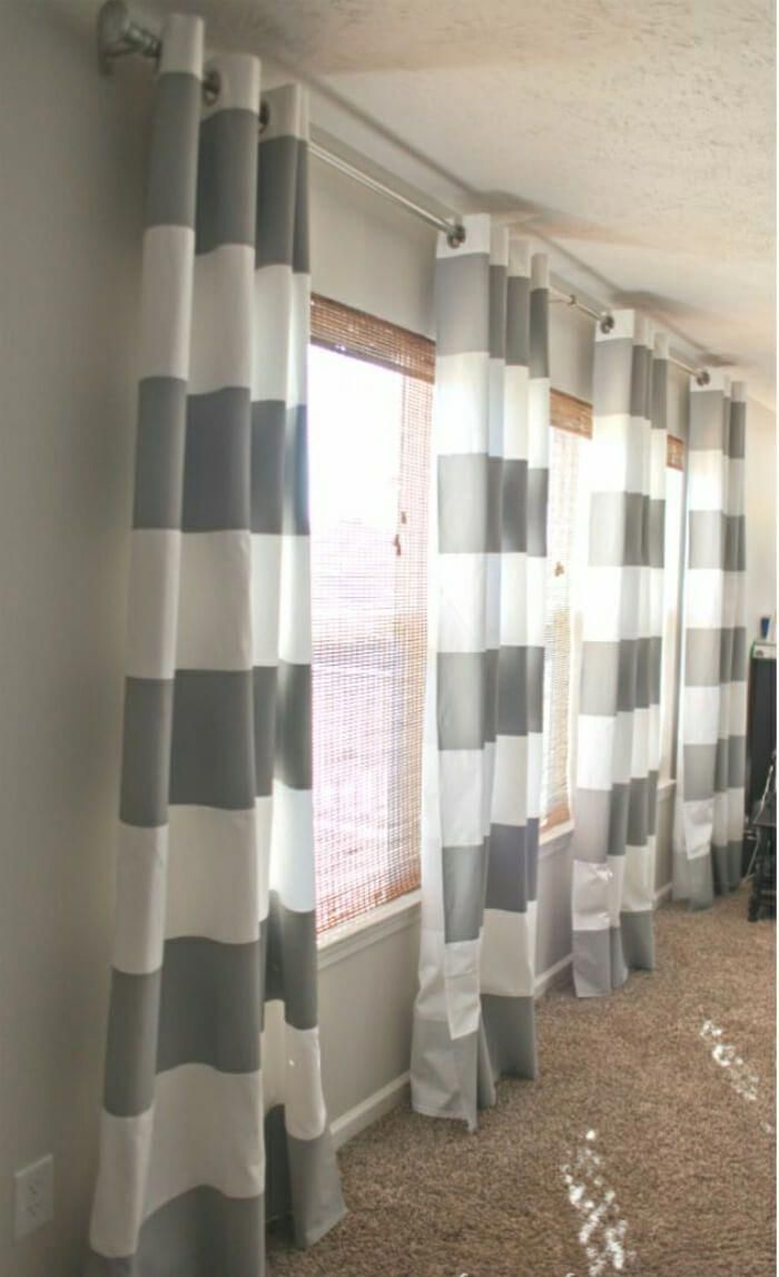 Big And Bold Stripes From Ceiling To Floor Home Painted Curtains Curtains Living Room Living Room Windows