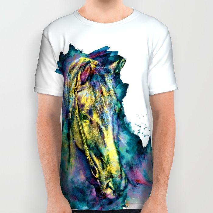Horse Chained Beauty All Over Print Shirt #horse #wild #animals #watercolor #wallart #homedecor #art #painting #illustration #digitalart #homedecor #tshirts