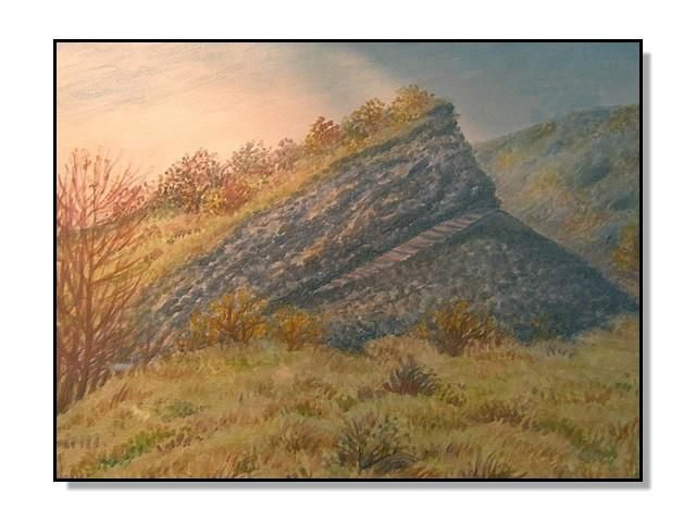 Železná hůrka, Cheb in Western Bohemia - one of the youngest volcanoes in the Czech Republic from the Quaternary period. Watercolor and pastel by Jana Haasová