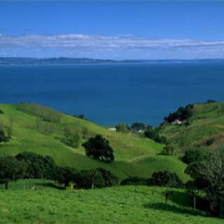 Typical rural and coastal scenery on the east coast of the Coromandel Peninsula.