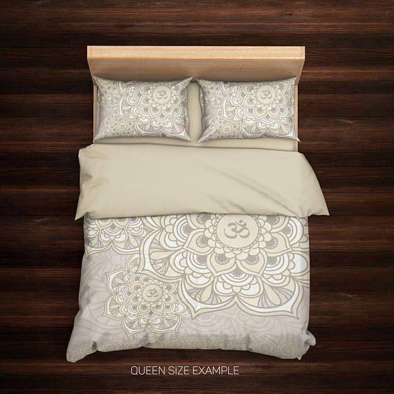 Om Bedding,Mandala Duvet Cover,Bedding,Hippie Bedding,Bohemian Bedding,Ethno Bedding,Boho Duvet Cover,Mandala Bedding Beige