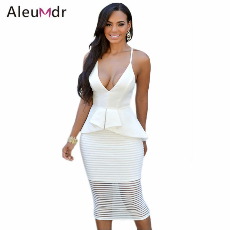 Aleumder 2016 Women Midi Dress Sexy White/Black Elegant V-Neck Crisscross Peplum Dress LC60353 Work Business Dress Black Friday