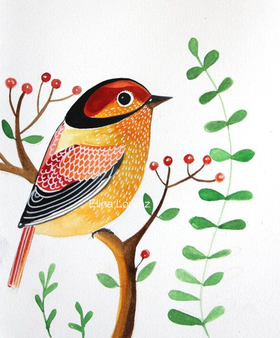 Bird ArtHome Decor GiftWall ArtRoom DecorRed by sublimecolors, $29.99