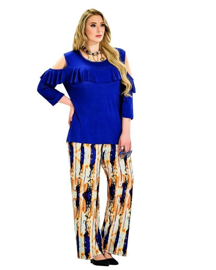 8fc42d25be60 This outfit comprises of a rich blue ¾ length top with cold shoulders and a  ruffle