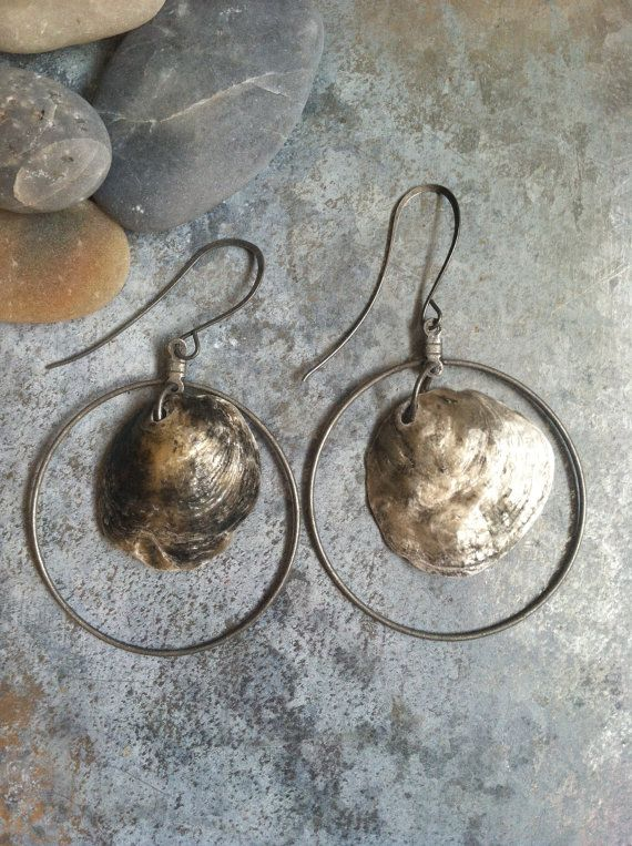 Boho  gypsy beachy silver grey jingle shell on wire hoop earrings, beachy jewelry, beach wedding jewelry, seashell jewelry