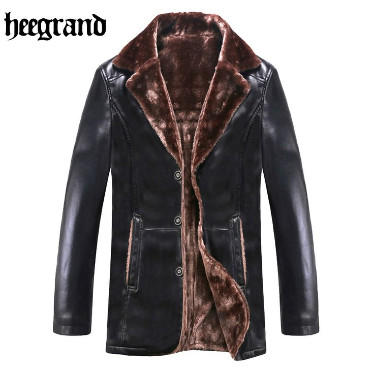 HEE GRAND 2017 New Fashion High Quality Male Leather Jacket Plus Size Brown Mens Mandarin Collar PU Coats MWP367