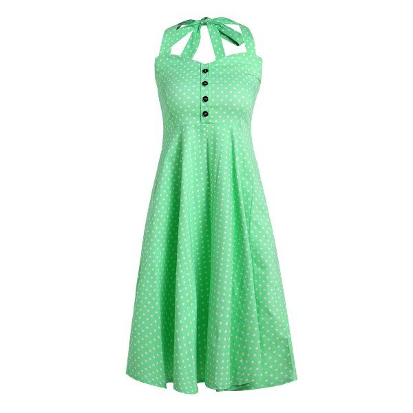 Vintage Halterneck Polka Dot Button Design Women's Dress