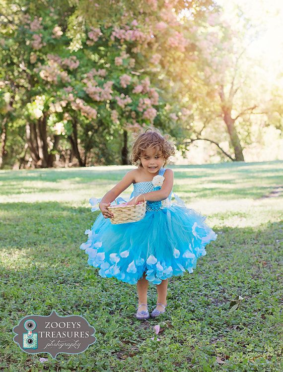 Blue FLOWER GIRL Tutu Dress with rose petals for 6 month-2T Turquoise Flower Girl on Etsy, $50.00