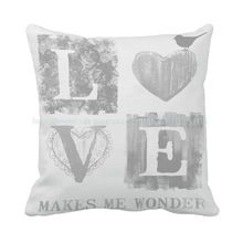O amor faz Me maravilha imprimir personalizado cinza almofada para sofá cadeira carro casa Decor lance travesseiro almofadas decorativas cojin Coussin(China (Mainland))