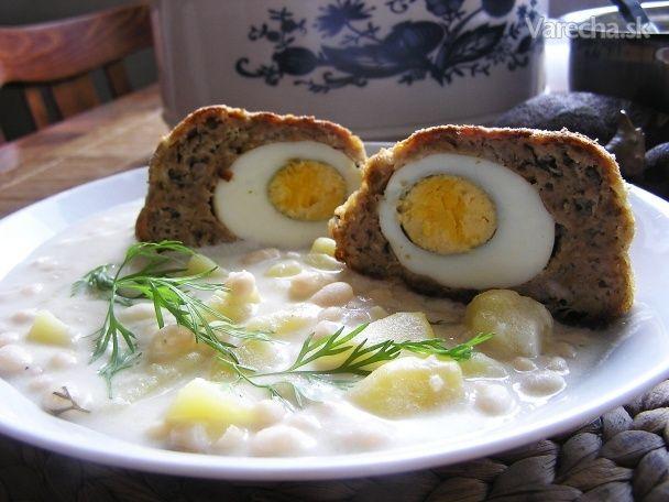 Kyslý prívarok s fašírkovým očkom-Potato sour sauce with meatballs stuffed with egg