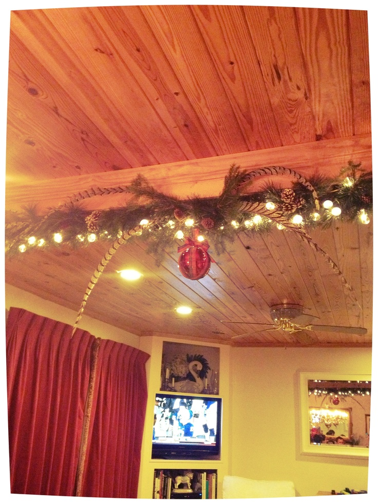 Love the Christmas decorations on this exposed beam  H O M E  Christmas decorations Decor