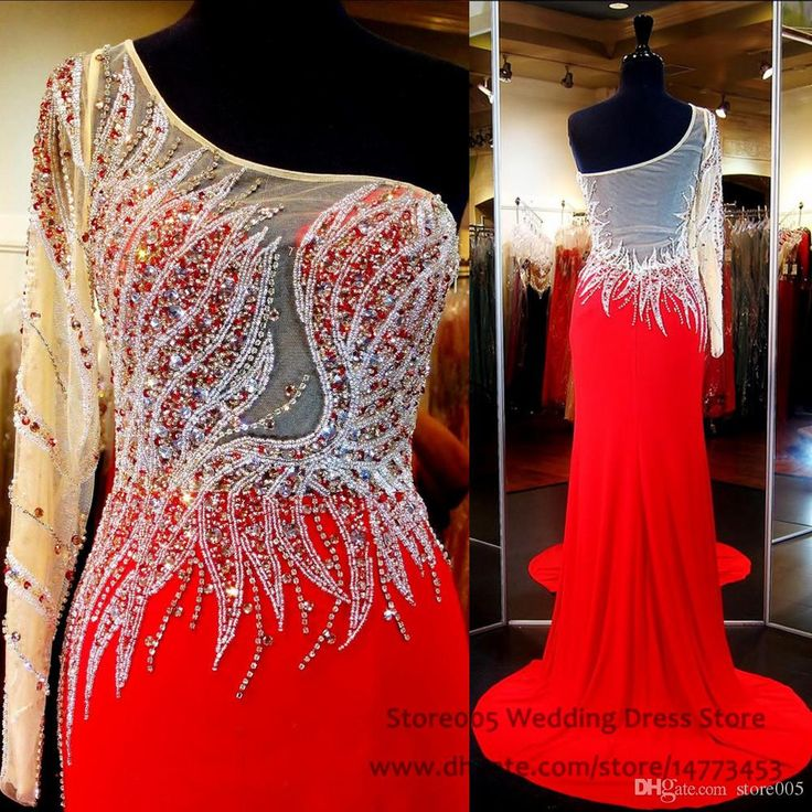 Sparkle Teen Red Pageant Dresses For Women One Shoulder Chiffon Long Mermaid Prom Dress With Crystal Sweep Train Beaded Gown L036 Adult Pageant Dresses Ball Gown Pageant Dresses From Store005, $132.67| Dhgate.Com