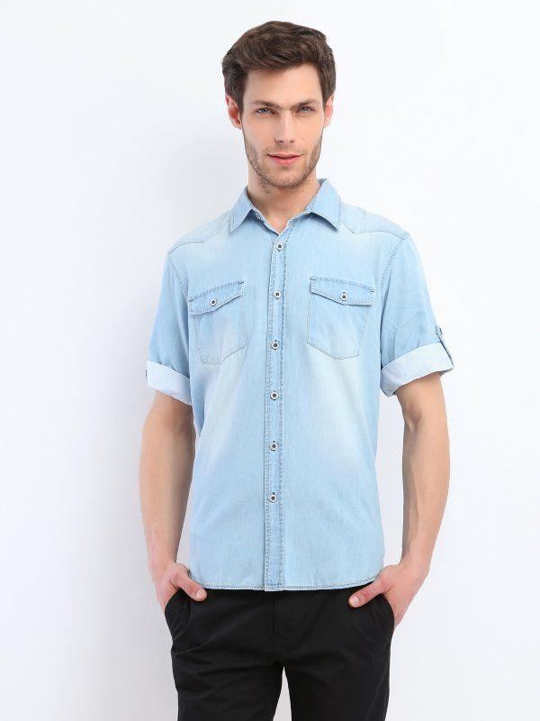 Koszula męska Troll z kolekcji wiosna lato 2014.  Modna, jeansowa koszula z krótkim, wywiniętym rękawkiem. #koszula #shirt #jeans