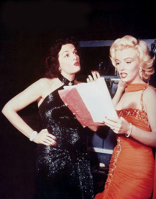 Marilyn Monroe and Jane Russell on the set of Gentlemen Prefer…