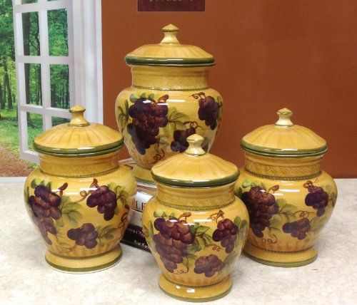 Tuscan Kitchen Accessories: Kitchen Canister With Tuscany Grapes Canisters  Kitchen Set On Furniture