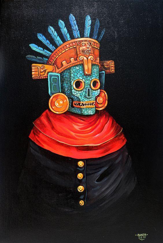 Psychedelic Art, Illustration Art Drawing, Art Drawings, Mexican Artwork, Mexico Art, Aztec Art, Smart Art, Mexican Artists, Chicano Art