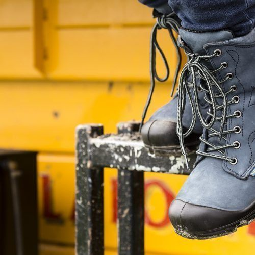 Steel toe work boots for women. Blue colour. CSA approved.
