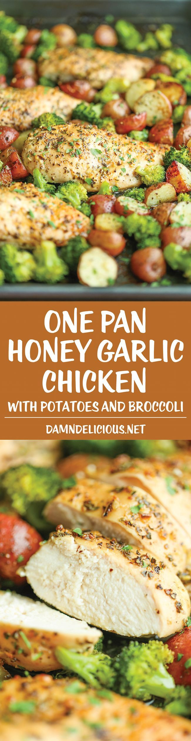 One Pan Honey Garlic Chicken and Veggies - via Damn Deliciious