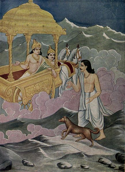 Yudhisthira, the last surviving hero of the Pandavas, refuses to enter heaven if the dog that followed him the whole way as a faithful companion cannot. Scene from The Mahabharata via Wikipedia.