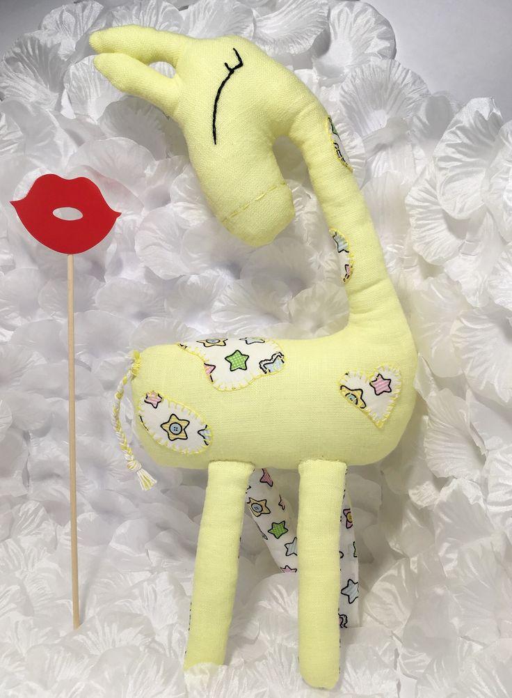 Yellow linen giraffe with cotton elements