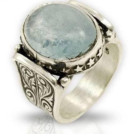 mens aquamarine vintage rings - Google Search