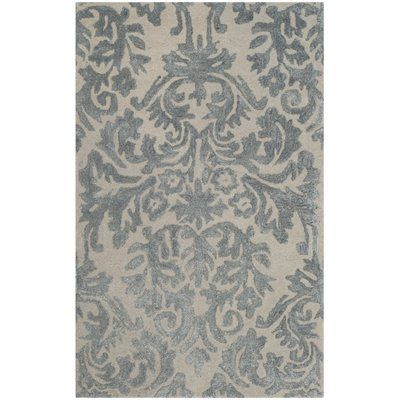 """House of Hampton Romford Hand-Tufted Ivory/Silver Area Rug Rug Size: 2'6"""" x 4'"""