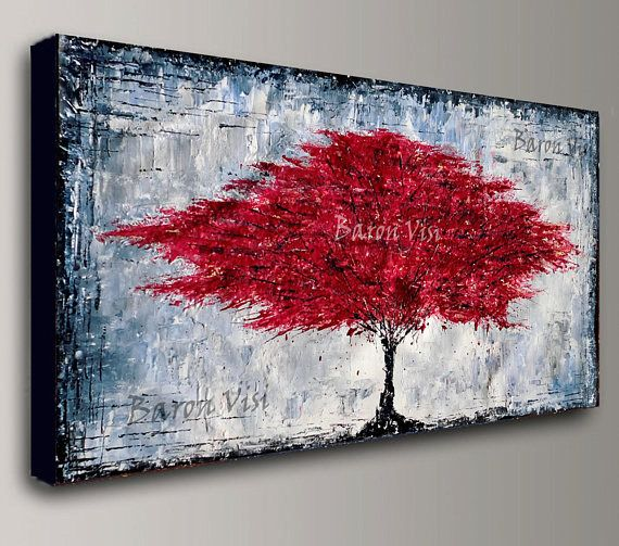 acrylic painting red tree abstract painting canvas art wall home office interior bedroom decor Oil modern palette knife red greyBaron Visi