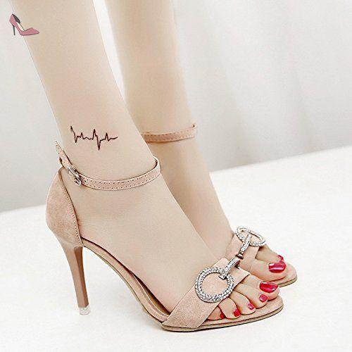 RUGAI-UE La mode des femmes d'été confortables sandales talons hauts rouge,38