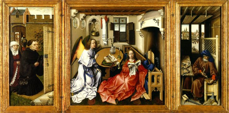 Robert Campin (1375/1379–1444) Annunciation Triptych (Merode Altarpiece), c. 1427-32, oil on oak panel,  Triptych, DimensionsCenter panel: 25.25 × 24.875 in (64.1 × 63.2 cm) Left wing: 25.375 × 10.75 in (64.5 × 27.3 cm) Right wing: 25.375 × 11 in (64.5 × 27.9 cm) The Metropolitan Museum of Art (The Cloisters)