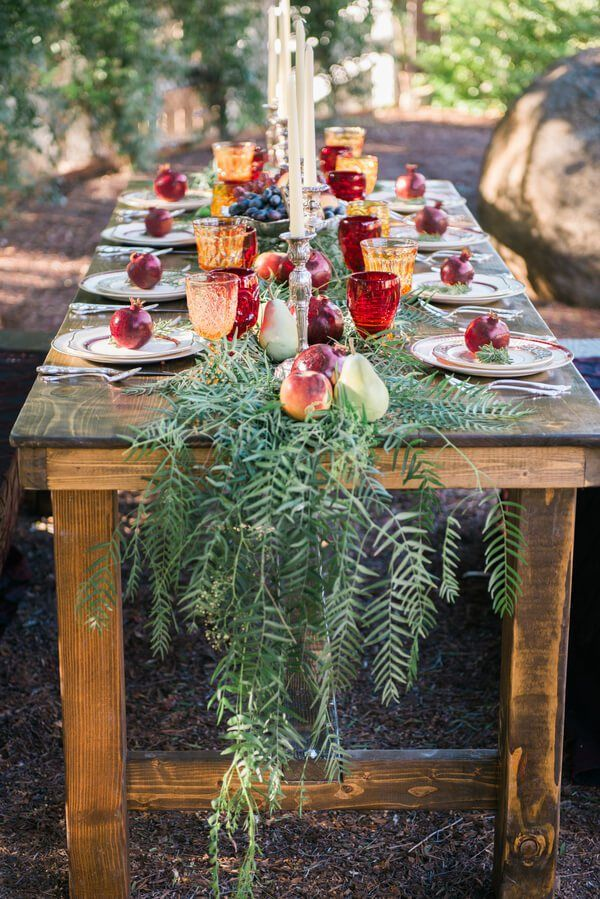 vintage rustic tablescape with greenery runner