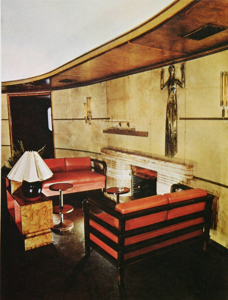 Lloyd Triestino - motorship Victoria - First class corner with fireplace in Fumoir-Club.