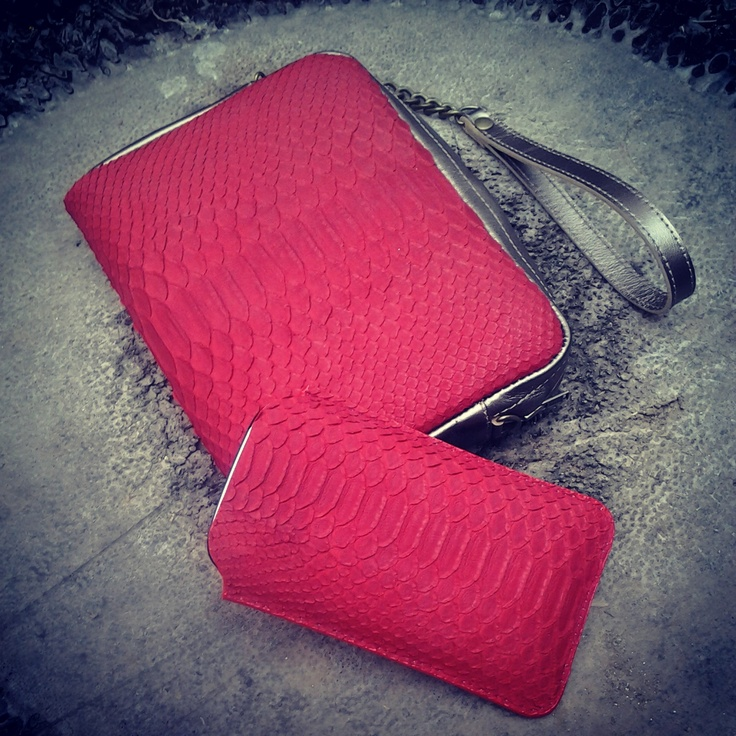 Red snake and metallic leather clutch & matching iPhone/Galaxy case by 2ndSKIN design https://www.facebook.com/pages/2nd-SKIN-leather-goods-and-design/151719754860719