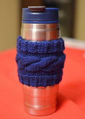 A free knitting pattern for a cabled travel mug cozy! So cool!
