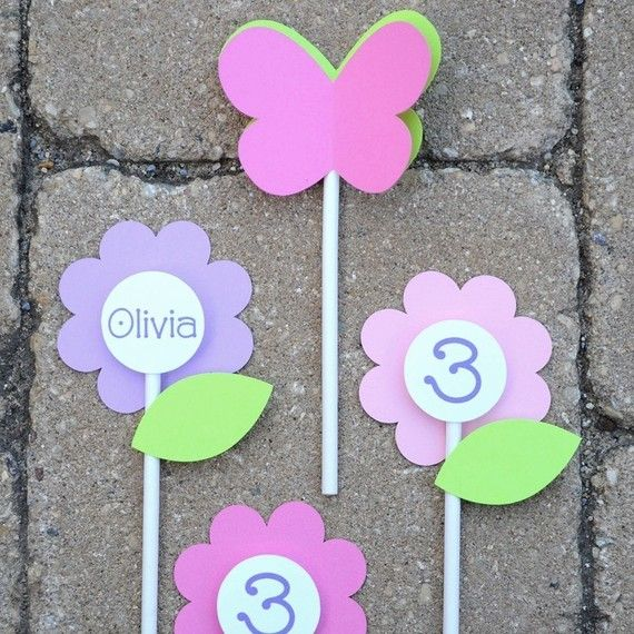 12 Birthday Cupcake Toppers - Flowers and Butterflies - Girls 1st Birthday Party Decorations via Etsy